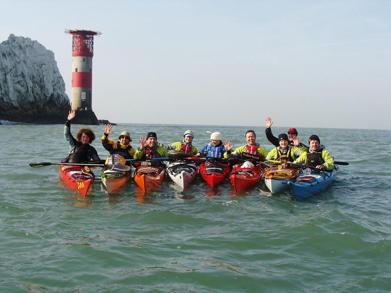 Big 5 kayak challenge team at the Needles, isle of Wight.<br /> L to R - Dean Buckingham, Rob Bates, Richard H, Aisling Ni Chuinn, Helen Reeves, David Gordon, Aaron Buckingham, Geoff Tilford, David McCarthy
