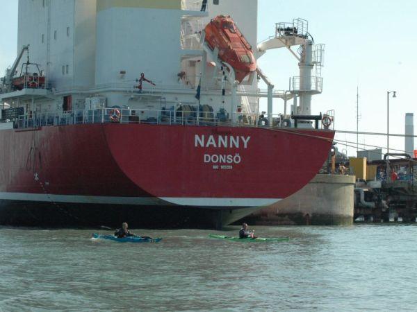 Sea kayaking passed Fawley Refinery on Southampton Water