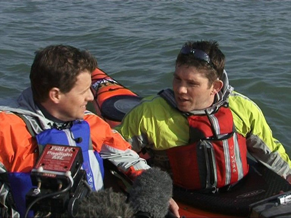 Richard Harpham and Mike Bushell filming the Big 5 kayak challenge for BBC1