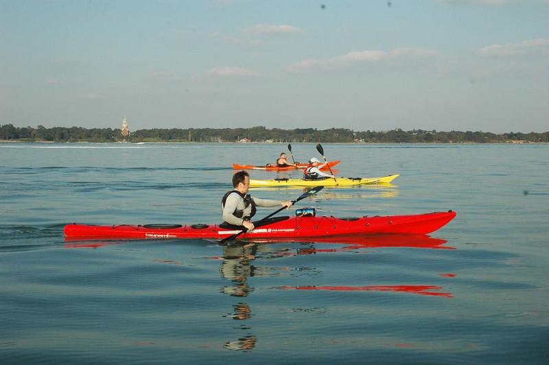 Glorious weather sea kayaking down Southampton Water, Dave Gordon, Aisling and Richard Harpham