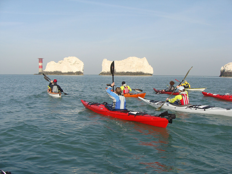 threading the Needles in Sea kayaks for BBC1 filming our challenges