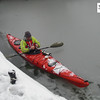 Dave Gordon trying to fight off the cold as we break the ice yet again whilst kayaking the Thames