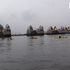 The Big 5 kayak challenge team make  their way through the Thames Barrier