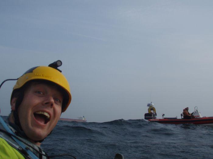 David Gordon, mid channel mayhem, sea kayaking the English Channel, April 2009