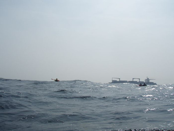 Sea kayaking across the Shipping Lane, Scary times!