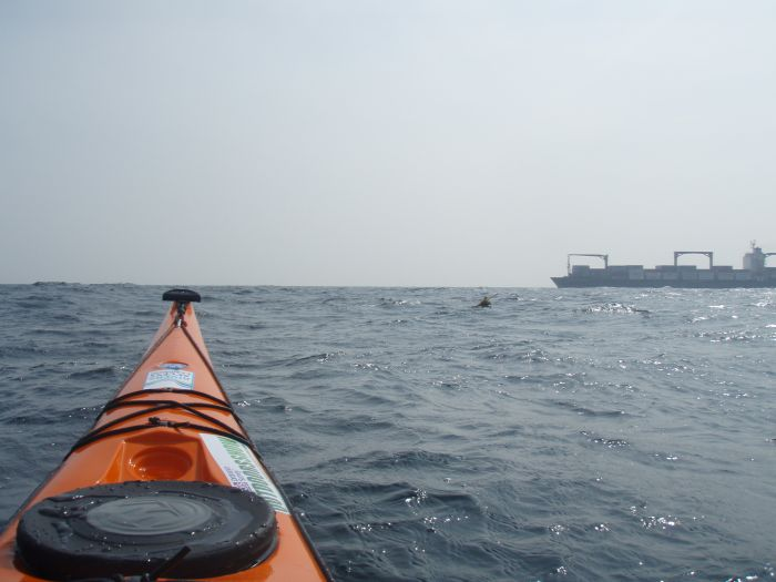 Making our way across the 5 mile shipping lane, little boats dont mix well with big boats