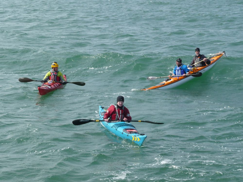 Coming into land after 5 hours of sea kayaking, (not sure where Geoff and Owen are heading?!)