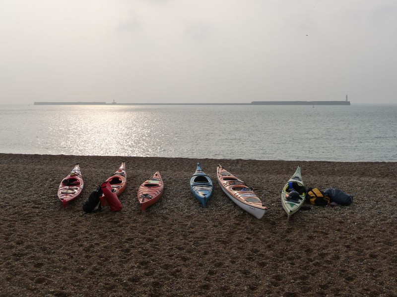 On the beach at Dover Harbour getting ready for the off...The calm before the storm
