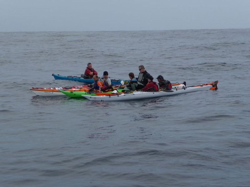 Rafted up for a quick break, 9.5 hour crossing in 4 m swell from Lands End to the Isles of Scilly