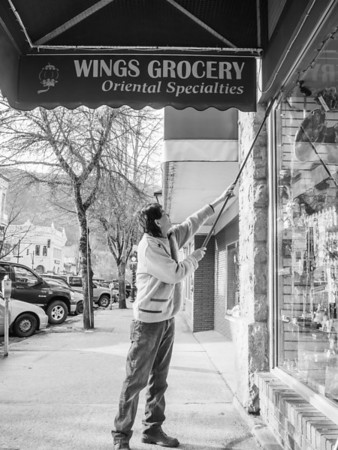 """""""I took Wings Grocery over from my brother who retired and moved back to Vancouver 2 years ago. We switched places. He moved from here to Vancouver, and I moved from Vancouver to Nelson.""""<br /> <br /> """"What did you do before owning Wings? Did you own another store like this one?""""<br /> <br /> """"No, no. I used to make models.""""<br /> <br /> """"Models of what? Planes?""""<br /> <br /> """"Ha ha. No. Buildings. Like show homes.""""<br /> <br /> """"Like the one they have for the Nelson Commons housing development.""""<br /> <br /> """"Yes exactly. I did that.""""<br /> <br /> """"You did models like that.""""<br /> <br /> """"No. I built THAT model. The one of the new development in Nelson. I built it before I came here.""""<br /> <br /> """"Holy crap. Really?""""<br /> <br /> """"Yes."""""""