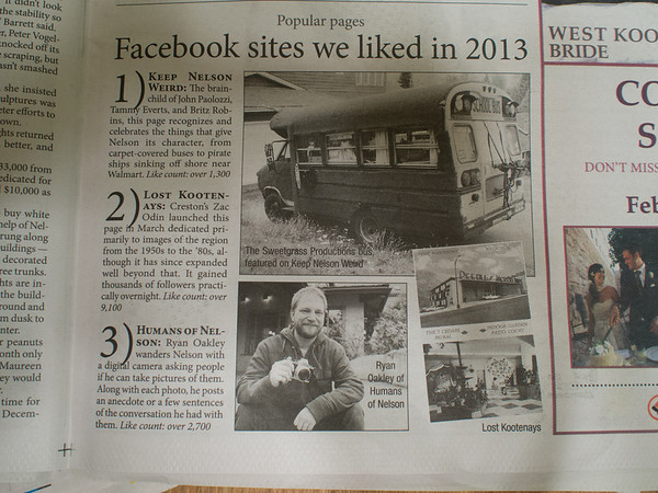 Nice shout-out in the New Years edition of the Nelson Star.<br /> <br /> Look - they even mentioned all of you wonderful page likers!