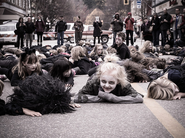 "The only thing more scary than a ""mob"" of zombies - is to have one of them SMILE at you.  Ahhhh!!!!<br /> <br /> Wild Flower zombies took over Baker Street and did a flash mob dance to ""Thriller"".<br /> <br /> I'm surprised I made it out of there alive, to be honest."