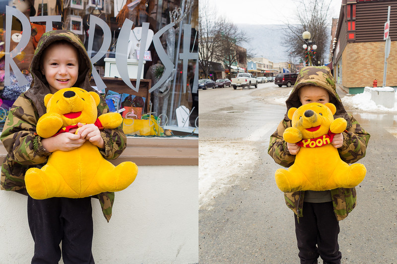 At some point between when I first saw this young man (left) and then again 20 minutes later (right) - Pooh Bear must have escaped his clutches and made an attempt to find some honey.<br /> <br /> Oh, that Pooh Bear! He just can't help himself.