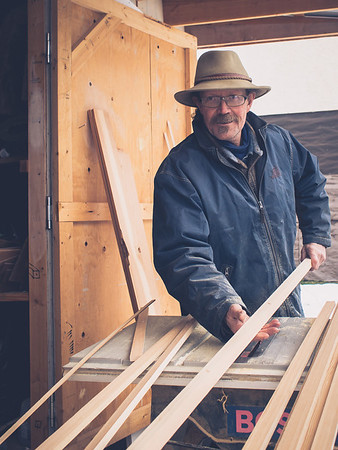 """""""What are some projects that stick out for you as a carpenter?""""<br /> <br /> """"When I was on Salt Spring Island - I built homes for the rich and famous. You wouldn't believe the designs and the expense of some of these homes. Boy, were they gorgeous. I'm proud of what I was able to build out there.""""<br /> <br /> """"What are you working on now?""""<br /> <br /> """"Baseboards.""""<br /> <br /> (But don't get the wrong impression. This is a guy who takes serious pride in his work - big or small. He told me about the wood he was using, and even invited me in to the Shanti Studio to have a look around at what he's done.)"""