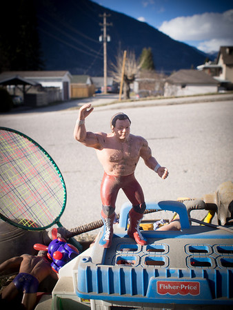 """The """"free"""" boxes around Nelson are usually full of junk. But this one was epic. Some kid is going to feel like they won the lottery when they stumble by this.  I mean - just think about how far you could smack one of those wrestlers down the street with that badminton racket!!<br /> <br /> Hashtag trashtotreasure"""