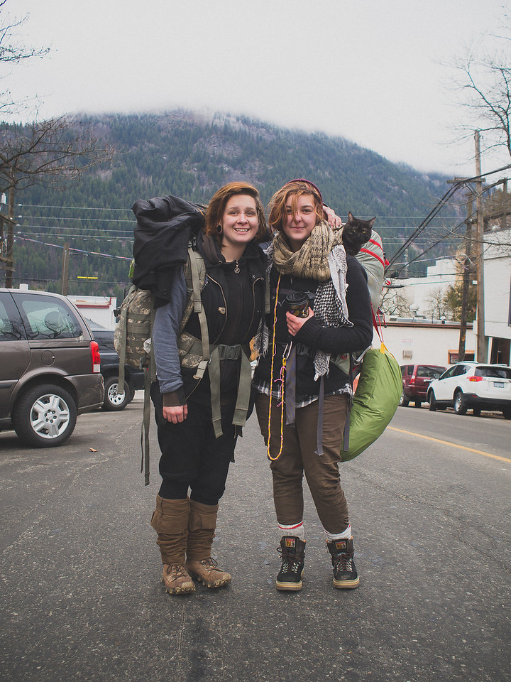 """Me: """"How long have you two been homeless?""""  Left: """"We're not homeless! We're travellers. We both left when we were 15 years old.""""  Me: """"What's been one of your best moments since you left?""""  Right: """"When we got close enough to the mountains that I knew we were just about to make our new home in the wilderness. I just became overwhelmed with joy. I rolled down the window and yelled 'I'M FUCKING FREE!'""""  Me: """"What kinds of reactions do you get from other people - being so young and by yourselves, not knowing what tomorrow will bring.""""  Left: """"We made a choice to live this lifestyle. So many people we meet and see in the cities are slaves. Slaves to their jobs, slaves to their debt, slaves to their stuff. We are free of all that. People say they are inspired by us, that they wish they could have what we have.""""  Right: """"And we know some people pity us or look down on us. But that's silly. The travelling community is pretty big - and most of us are good people living life this way by choice. Unfortunately there are bad travellers out there too - and they give our lifestyle a bad name.""""  Me: """"What's the worst part about travelling.""""  Left: """"It was freezing last night."""""""