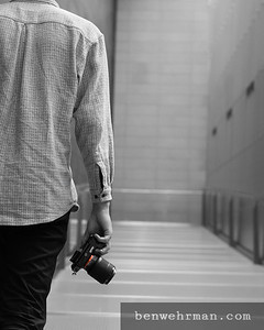 Photographer walking away