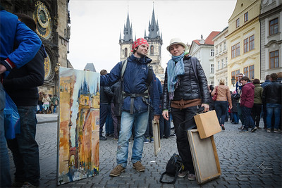 Young Ukrainian painters in Prague.
