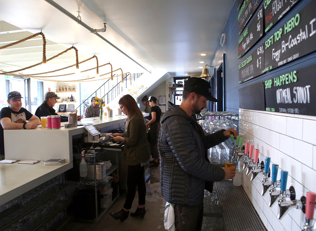 . Humble Sea Brewing Company offers a bright and inviting tap room. (Shmuel Thaler -- Santa Cruz Sentinel)