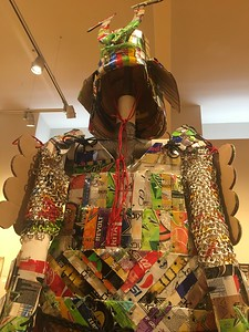 "Robert Adams' ""Trashionista Gloriosa"" was the winner of the 2018 Kinetic Kouture: Fashion with a RE-Purpose."" It's now on display at the Morris Graves Museum of Art as part of the 2018 ""Junque Arte"" exhibit. The piece is made of aluminum cans, soda bottles, reclaimed cardboard and 550 cord from the 2018 Kinetic Grand Championship. (Heather Shelton -- The Times-Standard)"