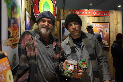 Graham's Brand owner Graham Shaw (right) and business partner Kenny Gregg man their booth and gave out free samples at the Humboldt County Cup in Redway on Saturday. (Will Houston - The Times-Standard)