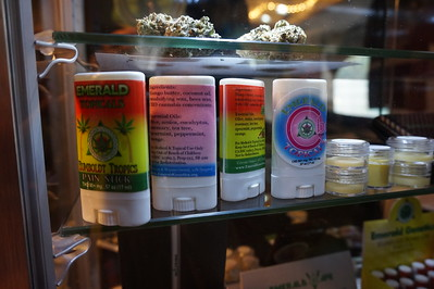 Some of the products on the shelf from one of the vendors at the Humboldt County Cup in Redway on Saturday, Jan. 21. Emerald Topicals are products from Emerald Genetics, a company owned by the event organizer. (Kellie Ann Benz - The Redwood Times)