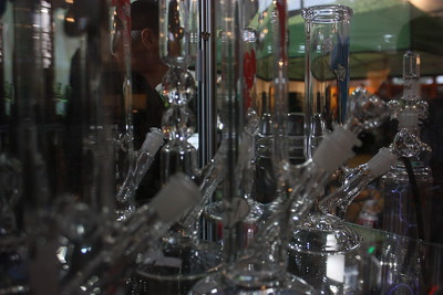 Bongs and other glassware were displayed in rows inside the Humboldt County Cup's trade show in Redway on Saturday. (Will Houston - The Times-Standard)