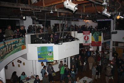 Humboldt County Cup attendees gather on the balcony and main floor of the Mateel Community Center in Redway on Saturday evening. (Will Houston - The Times-Standard)
