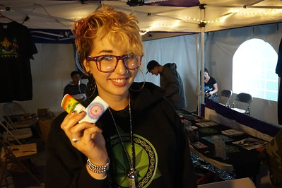 "Indica ""Tiffany"" Pine holding two of her 'pain sticks'  at the Humboldt County Cup in Redway on Saturday, Jan 21. Pine said she was inspired to create the products, made of a combination of natural ingredients infused with cannabis, to address pain issues of her mother and grandmother. (Kellie Ann Benz - The Redwood Times)"