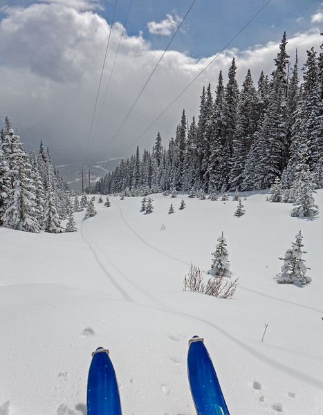 """Contemplating the powerline descent, but a weak crust underlying the new snow said- """"no""""."""