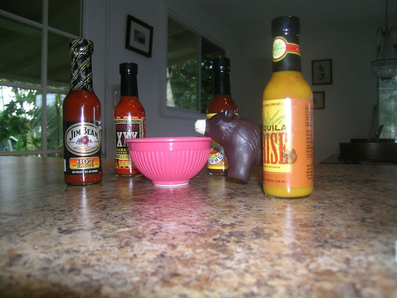 Freddie thought he might whip up a tasty treat with some of Allen's awesome hot sauces.