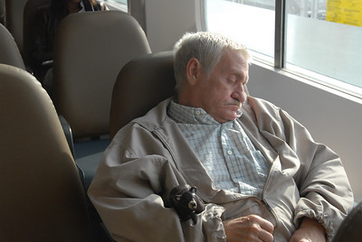 Catching a nap on the ferry with Dave.