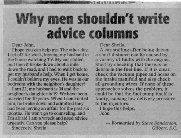 John's answer is seriously flawed. What if Sheila's car is carbureted? She could spend weeks looking for the fuel injectors that are not there.