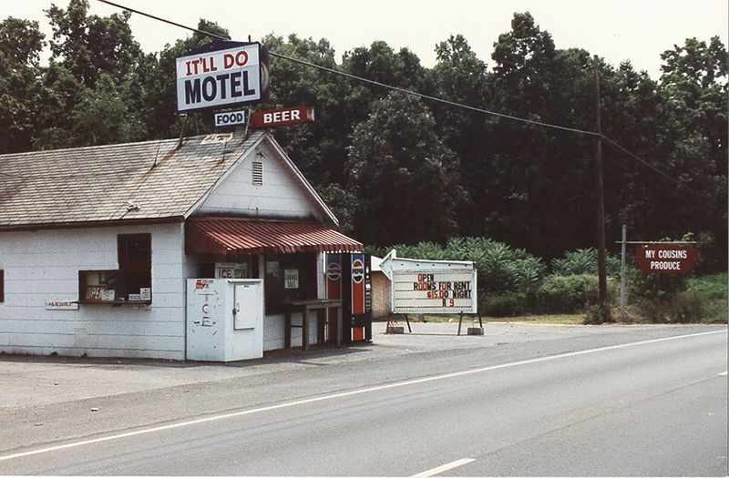 """It'll Do Motel in Bristol Tn. Taken in August 1987. Note Rooms $15.00. Right next door is """"My Cousins Produce""""<br /> I can't make this stuff up."""