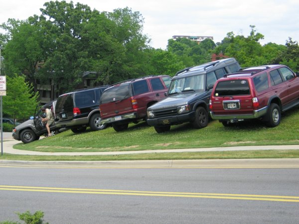 Off road vehicles. This is probably as far off road as these SUV's have ever been.