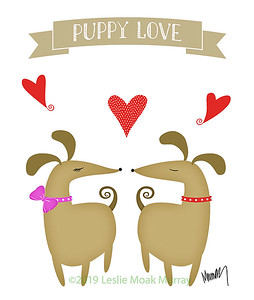 Puppy Love - Cute Illlustration of  Two Dogs in Love