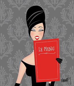 Chic Retro Woman  Reading a Restaurant Menu