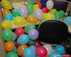 Cubical filled with balloons.  During.