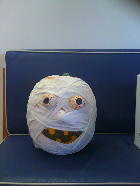Halloween pumpkin at our veterinarian's office.