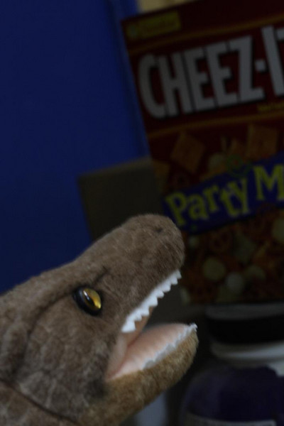 Mmm, Cheez-it Party Mix.  A raptor's favorite midday snack.