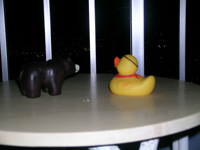 Here are Freddie and Ko on the balcony of our room at the Ala Moana hotel 37 floors up and checking out the city lights