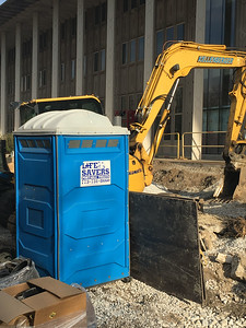 Life Savers Portable Toilets;  University of Chicago, on 60th Street between Kimbark and Kenwood (new School of Public Policy). Photo by Noah.