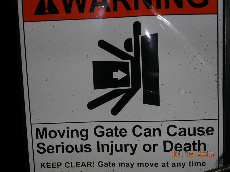 <h2>Poor Guy</h2> I would hate to be the guy that got or gets injured  at this slow moving gate.