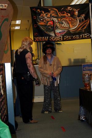 Dog talking to Jimi Hendrix.