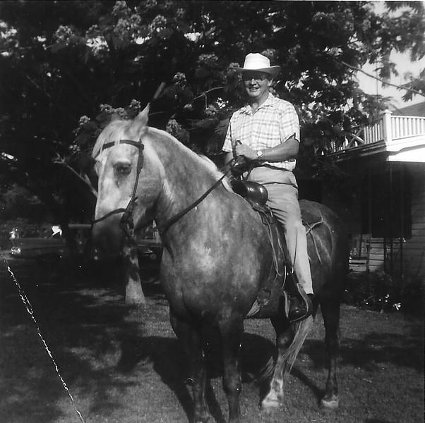 Cal Humphries riding a horse.