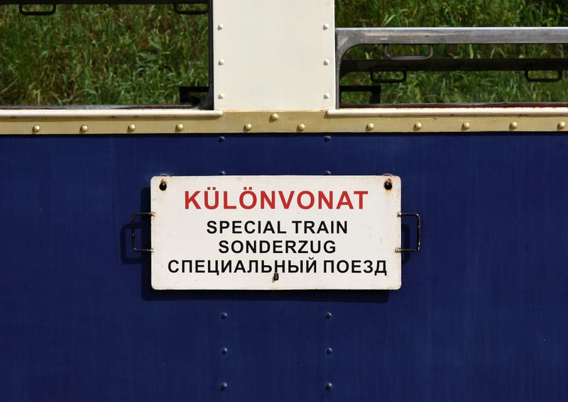 Special train sign, Budapest Children's Railway, 4 May 2018.