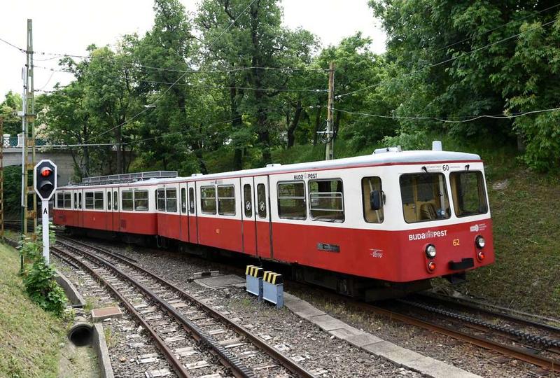 Railcar 52 & trailer 62, Szechenyi-Hegy station, Budapest rack railway, 4 May 2018 2 - 1103.  ...and setting off back to Varosmajor.