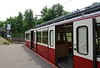 Railcar 55, Szechenyi-Hegy station, Budapest rack railway, 4 May 2018.  Awaiting departure to Varosmajor with the vintage trailer.