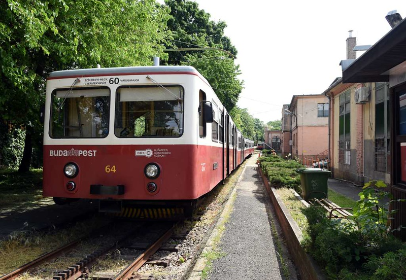 Depot, Varosmajor, Budapest rack railway, 4 May 2018 2.  The railway is shown in timetables as tram line 60.  It has seven motor cars and seven trailers, all delivered in 1973.
