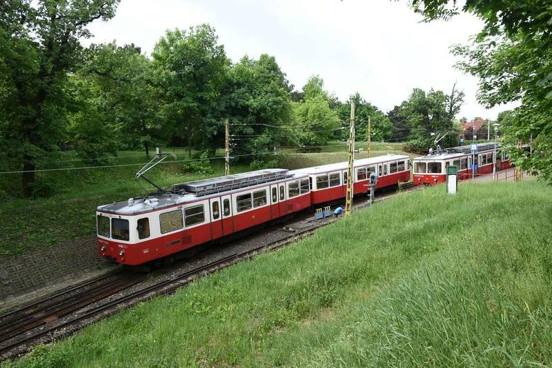 Railcar 52 & trailer 62, Szechenyi-Hegy station, Budapest rack railway, 4 May 2018 1 - 1059.  Arriving from Varosmajor...